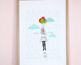"Illustration ""L'Envolée"" printed on Fine art paper"