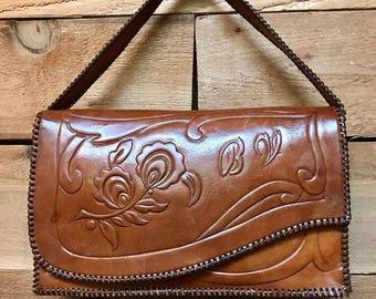 """Vintage Tooled Handbag Vtg Brown Leather Floral Design """"BV"""" Purse"""