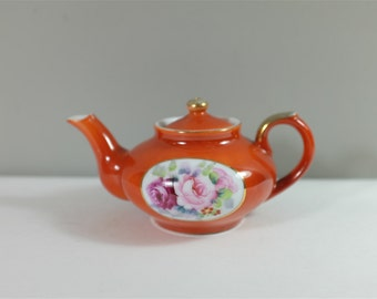Vintage individual hand painted  porcelain Teapot - retro orange individual teapot with flowers - China teapot