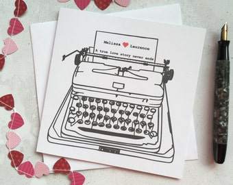 Love letter typewriter card – personalised with your names – true love story never ends  – card for lover – custom card – engagement card