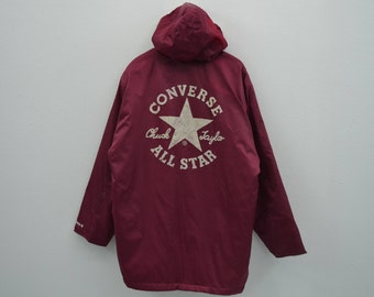 Converse Jacket Vintage Converse Windbreaker 90s Converse Vintage Hooded Parka Mens Size XL