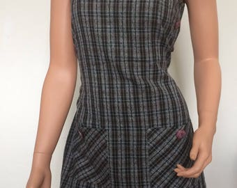Brown Plaid Dress mini 90's