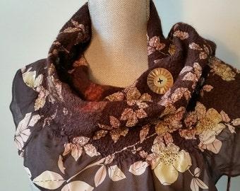 Sequined Nuno Felt Shawl _ Hand Felted Neck Wrap_ Wool & Silk Art Scarf_ Vintage Button