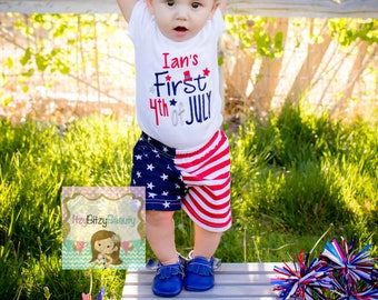 First Fourth Of July Baby Boys Outfit Personalized Embroidered Bodysuit Or Shirt Shorts Stars And Stripes