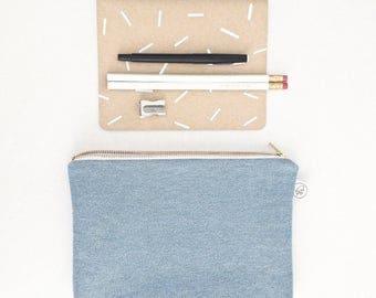 "BLUE JEANS POUCH / clutch bag, make-up bag, pencil case / grid pattern / cotton black n white / 6.5""x9"" / gold zip / la petite boite"