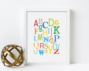 Framed Alphabet Print, Nursery Wall Art, Alphabet Poster, Nursery Decor, Art for Kids Room Decor, Alphabet Art, Educational Poster
