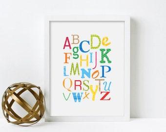 Framed Alphabet Print, Nursery Wall Art, Alphabet Poster, Nursery Decor, Art for Kids Room Decor, Alphabet Art, Educational Poster