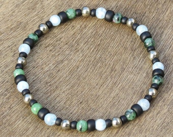 SCORPIO BOY'S POWER Bracelet for Tolerance,Concentration, Learning,Organization, Stress,Fear and Laziness with Aquamarine, Pyrite & Zoisite!