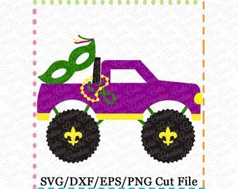 Mardi Gras Truck SVG Cutting File, mardi gras svg, truck svg, mardi gras cut file svg, fleur de lis svg, monster truck cut file