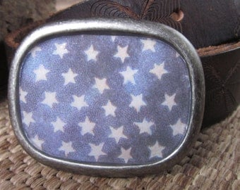blue and white stars  Patriotic belt buckle Rustic  mens belt buckle unisex Belt Buckle women's belt buckle country Western belt buckle boho