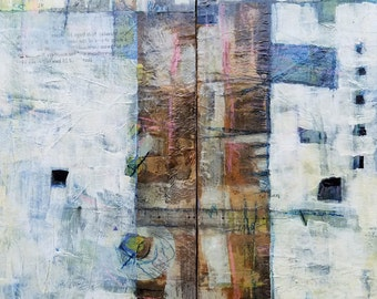 """Diptyph-Original Abstract Mixed Media Recycled Paintings on Reclaimed Wood! """"The Distance"""" Two paintings that make one cool painting!"""