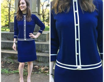1960s Dress / Vintage Long Sleeve Navy & Cream Small Jackie O Style Classic Dress