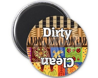 "dishwasher magnet,2.25"" magnet,clean dirty dishwasher magnet, African theme magnet, African pattern"