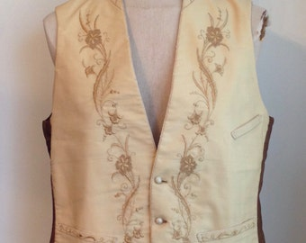 Early 19th Century/ 1820-1830 Mens Embroidered Wedding Vest/ Waistcoat/1800s/Formal Vest