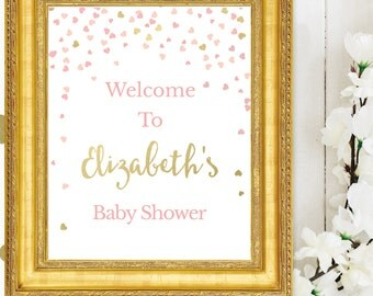 Baby Shower Welcome Sign - Pink and Gold Baby Shower Printable Signs - Welcome to the Baby Shower - Personalized - Pink and Gold Hearts