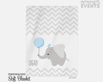 Personalized Blanket - Baby Blanket with Name - Personalized Fleece Blanket - Baby Gift - Baby Shower Ideas - Elephant & Bird Blanket SB1000