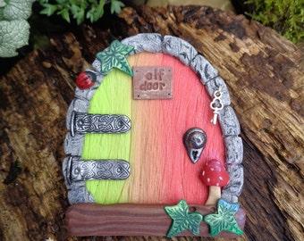 Fairy / Elf Door with ladybird, silver key - Fairies portal of polymer clay - Magic Wooden Door for Pixies, Gnomes, Elves