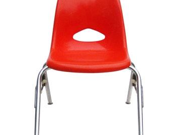 Vintage Mid Century Red Orange Molded Plastic Child's School Desk Chair, Krueger Metal Products, Industrial School Student Seating
