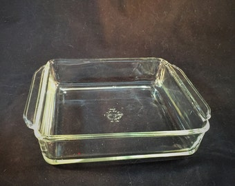 Vintage Fire King Clear Glass Square Baking Pan