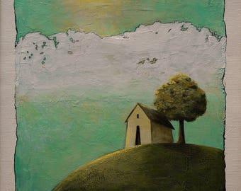 Small original art, imaginary landscape painting, green tree wall art, house on hill, 6x6 inches acrylic painting within 11x14 inches mount
