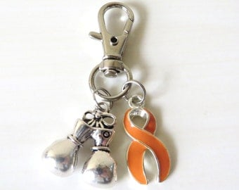 Orange Awareness Zipper Pull Key Chain YOU Select Charms Multiple Sclerosis Kidney Cancer Leukemia ADHD Rsd Cprs Malnutrition Self Injury