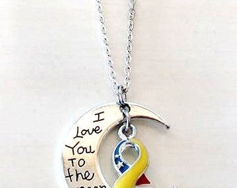 Patriotic Support Our Troops Military Appreciation Awareness I Love You To the Moon and Back Necklace You Select Chain Material and Length