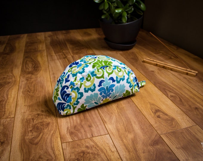 Crescent Travel meditation cushion half moon zafu Summer Mandala buckwheat pillow handmade by Creations Mariposa C-ME