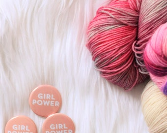 Girl Power Pin Back Button Crafty Badge February TL Yarn Crafts Pin Release Feminist Valentine Women Girl Pussy Hat Project Womens Rights