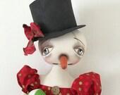 """Christmas Snow Girl 'Caroline', an OOAK 28"""" tall Primitive Folk Art Snow woman, Snowman Christmas, Holidays FAAP, HAFAIR Cloth Doll"""