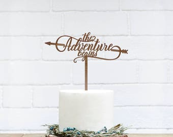 Customized Wedding Cake Topper, Personalized Cake Topper for Wedding, Custom Personalized Wedding Cake Topper, Adventure Begins Cake Topper