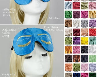 Silk sleep mask, audrey hepburn, holly golightly, breakfast at tiffanys, closed eyes, slumber party, bridal party, gift for her, spa, rme5