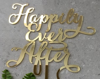 Happily Ever Afer Acrylic Gold Mirror Wedding Cake Topper