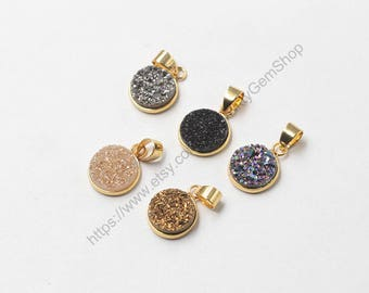 12mm Round Druzy Pendants -- With Electroplated Gold Edge Druzzy Drusy Geode Dainty Charms Wholesale Supplies Handmade YHA-096
