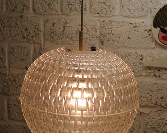 70s 60s 1960s 1970s Spectacular Modernist Hanging Transparent UFO Moon Lamp Geometric Pattern Aloys Gangkofner Design Erco Sphere Space Age