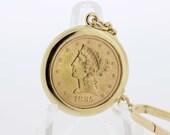 1885 Five Dollar Coin Gold  Fob Chain
