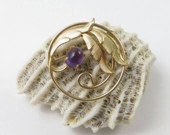 Mid Century Amethyst Brooch in Gold Tone Setting