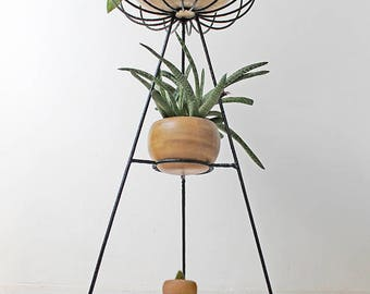 FREE GLOBAL SHIPPING / Mid Century Modern Bohemian 3 Tier Tripod Wire String Plant Stand Eames Dowel Base Herman Miller Bullet Planter mcm