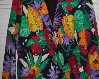 Vintage Floral Cotton XL Jacket/Blazer For Your Vacation, Cruise, Island Wear Size XL