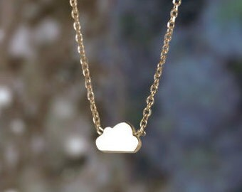 3.3x5.5MM Petite Whimsical Cloud Neclace | 16 Inches | Solid 14K Gold | Fine Jewelry | Free Shipping
