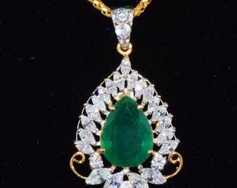 Emerald Necklace - Emerald Pendant - Estate 22K 22C 916 Solid Gold Emerald CZ Cubic Zircon Pendant Amulet Necklace Charm