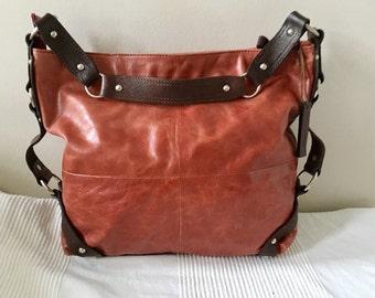 Vintage TANO Brown Leather Hobo Shoulder Bag