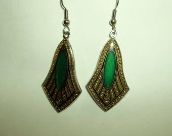 Dangling Art Deco Marcasite Style Emerald Green Enamel Earrings.