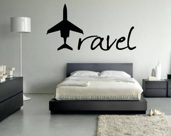 Travel Wall Decal - Travel with plane decal - Travel with Plane - Travel Decal - Pilot - Gulfstream