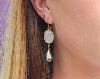 Moonstone Earrings // Moonstone Drop Earrings - Gold Earrings - Bridesmaid Earrings - Bridal Earrings - Wedding Jewelry - Bridesmaid Jewelry