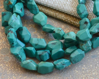 "Natural Turquoise Beads, Faceted Turquoise, Nugget Beads, Chunky Turquoise Beads, Tibetan Turquoise, Turquoise Beads, One Strand 15.5"", TU16"