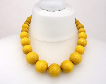 Yellow Chunky Necklace | Yellow Wooden Bead Necklace | Yellow Statement Necklace
