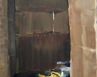 Paint tube in a cardboard box, original oil painting trompe l'oeil on panel 20x30cm