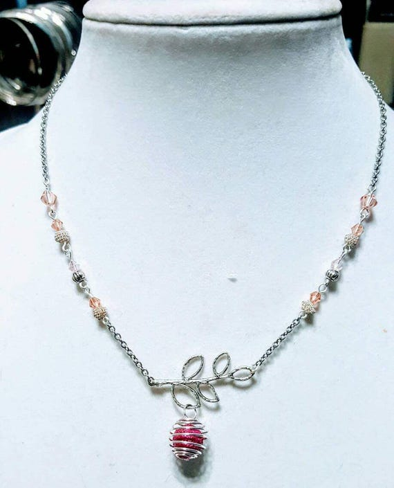 Bright Pink Lava Stone and Branch - Diffuser Necklace