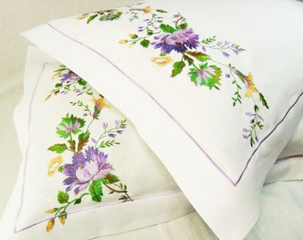 100 % Natural Linen Pillowcases Embroidered Pillowcase Floral White pillow covers Organic pillowcase Romantic Pillowcase Linen Shabby Chic