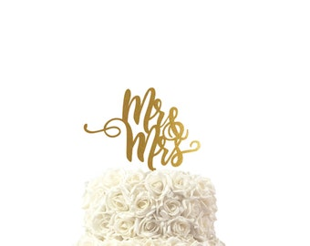 wedding cake toppers for mr & mrs handwritten, other colors also possible, custom made cake topper